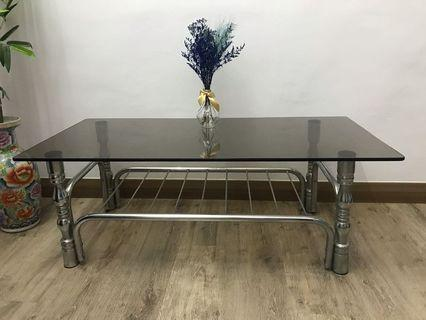 Tempered Glass stainless steel coffee table silver
