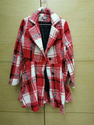 毛妮格子腰身外套