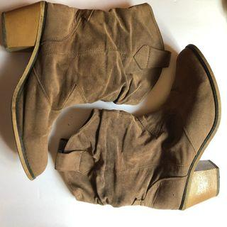 Cowboy Style Brown Booties Size 10