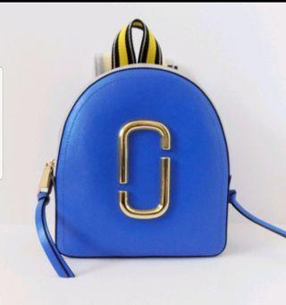 Marc Jacobs Pack Shot 專櫃款海藍色/灰色/炭灰/黃色撞色雙拉鍊防刮皮革中款後背包
