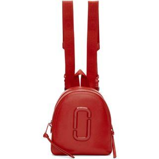 Marc Jacobs Pack Shot DMT 專櫃款紅色雙拉鍊防刮皮革中款後背包