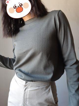 Meier.Q 微高領坑條上衣 綠/Meier.Q clothes 💥滿500免運費