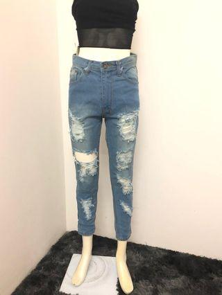 High Wasit Ripped Jeans