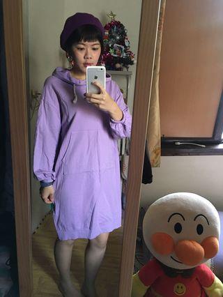 粉嫩紫連帽長踢裙#月底五折