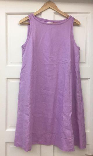 Pink purple linen dress