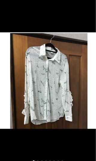 全新韓製透膚造型襯衫