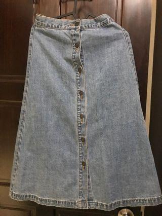 Gu 牛仔裙 排扣中長裙 m號 高腰