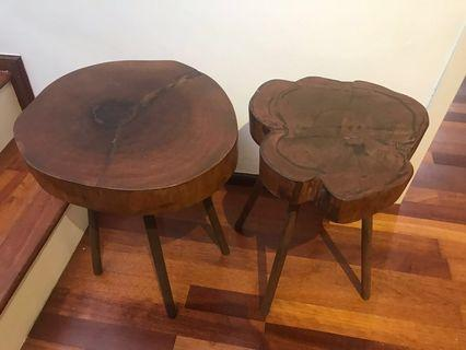 Wooden raw side-table