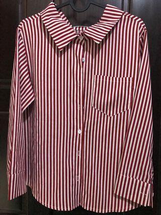 雪紡條紋襯衫 紅白