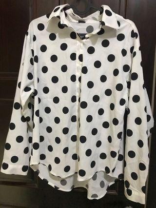 雪紡襯衫 黑白點點 寬鬆 長袖