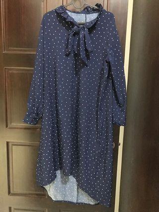 雪紡長洋裝 藍白點點 綁帶