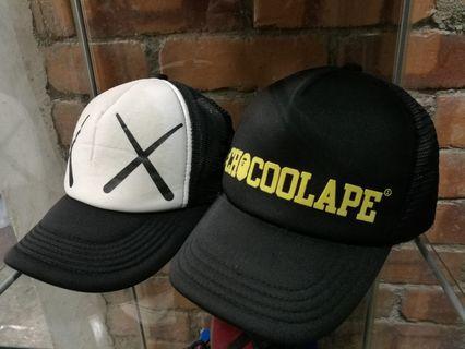 Bape x kaws trucker cap