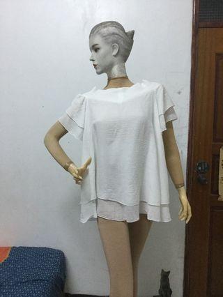 一字領白色短袖長版衣F號