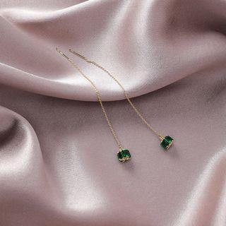 {朵朵韓飾} B3324 韓國直送(正韓)-925銀針 優雅氣質立體綠寶石耳線