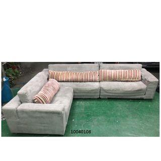 【弘旺二手家具生活館】二手/中古 灰色L型沙發 貓抓皮沙發 水鑽沙發 沙發床 木製沙發-各式新舊/二手家具 生活家電買賣