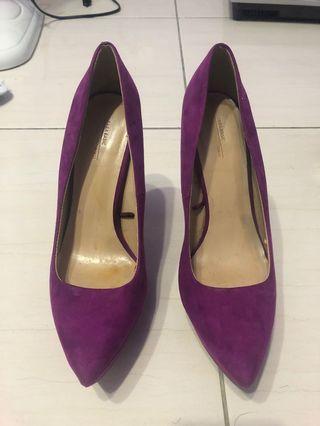 Zara紫色高跟鞋