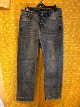 復古刷色牛仔褲 寬褲