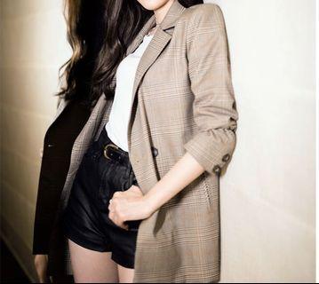 韓版寬鬆格子西裝外套