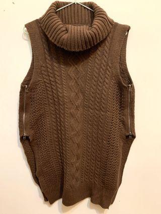 長版連身針織背心(咖)上衣