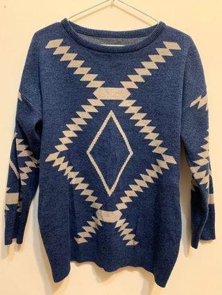 圖騰花紋針織上衣(藍)