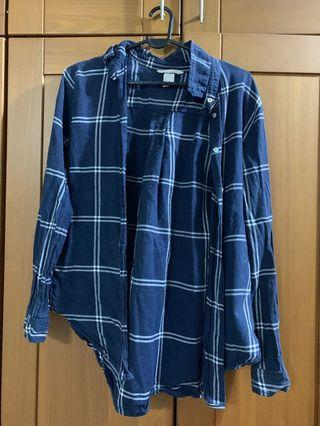 H&M Checkered Shirt in Navy Blue