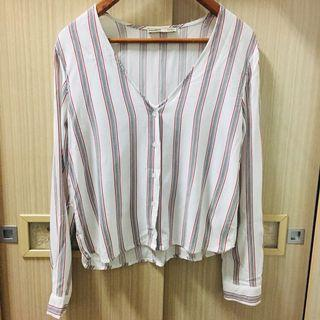 pull&bear條紋無領軟布襯衫