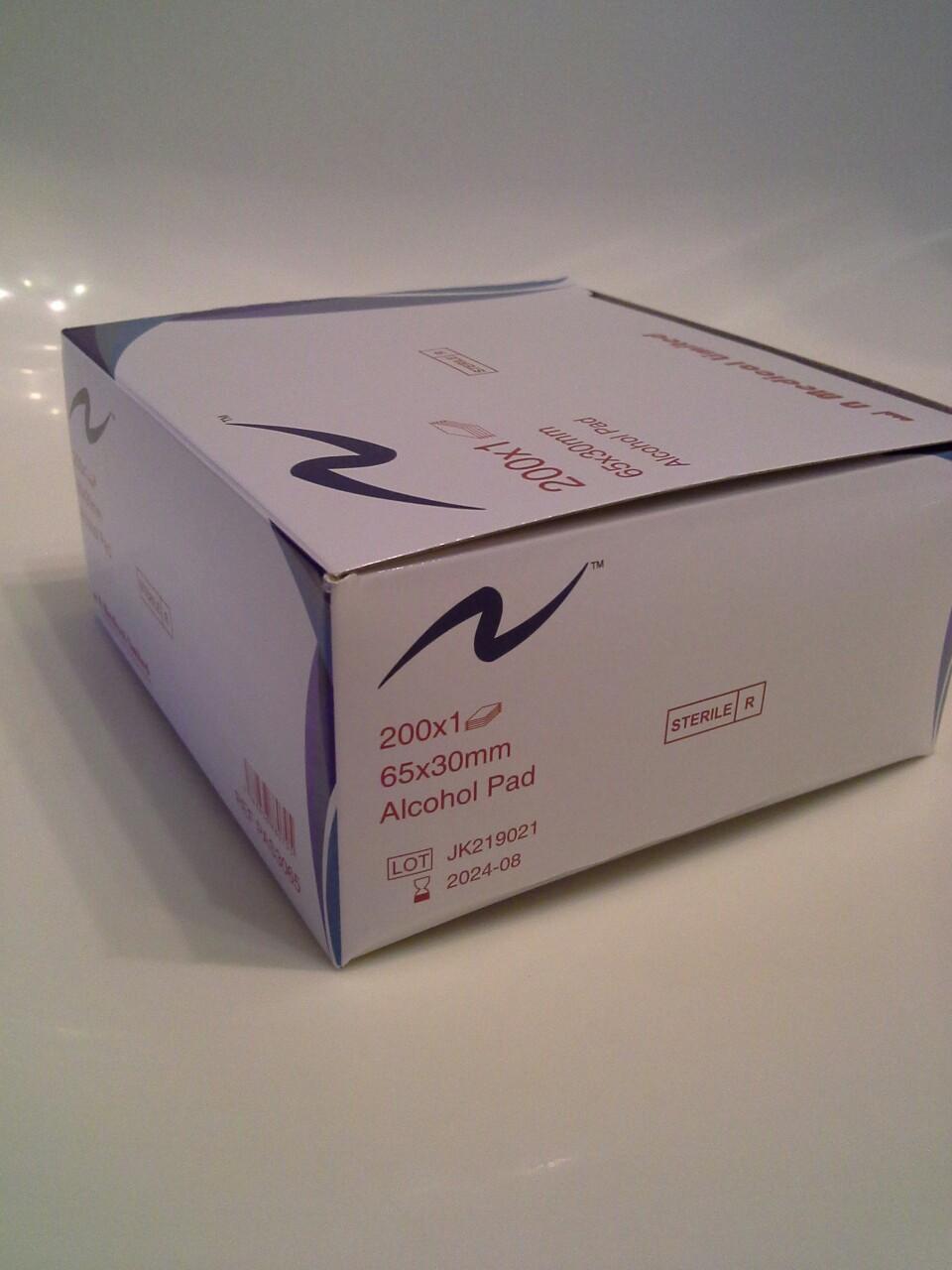 一盒200張 一次性獨立包裝 消毒酒精紙 消毒酒精棉片 注射藥物 清潔消毒 sterile alcohol pad alcohol swabs alcohol preps 65 x 30 mm 返工返學 户內戶外 防禦措施
