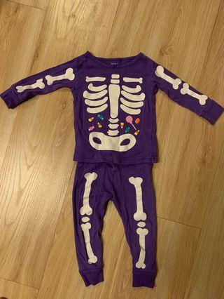 Carter's 萬聖節紫色套裝 12M 是夜光的喔超可愛