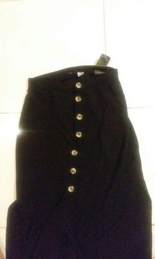 H&M midi slit skirt black rok panjang hnm hitam