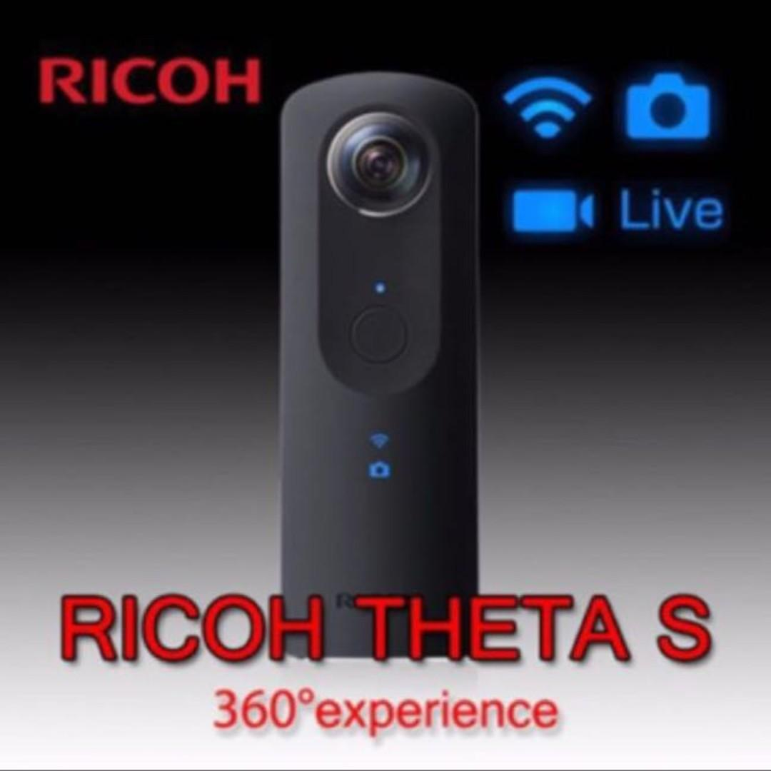 1 Ricoh Theta (S) 360 Cameras Full Box Set with Selfie Stick