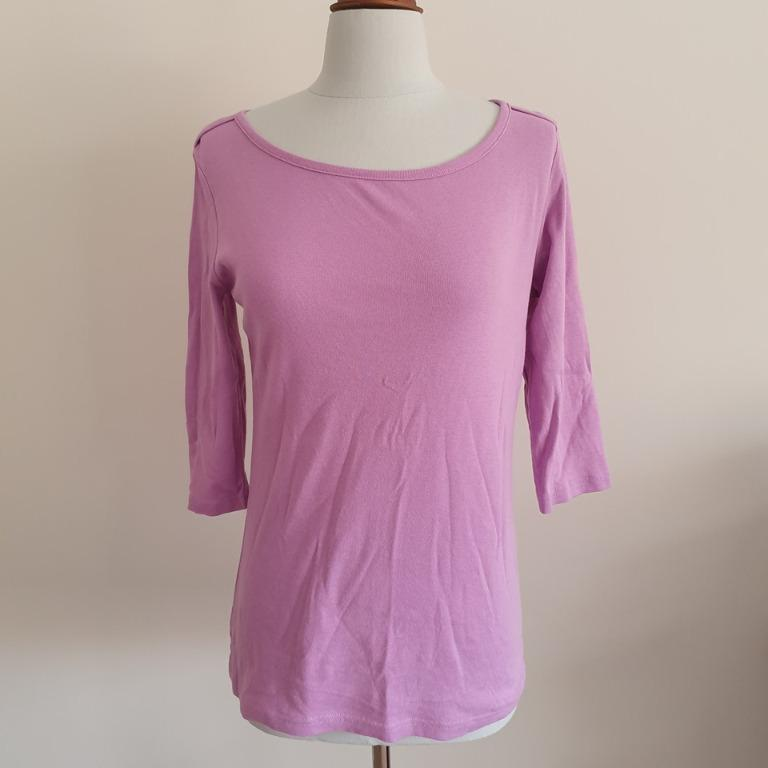 2x EUC NOW size 12 3/4 sleeve ribbed basic tops Lilac Aqua
