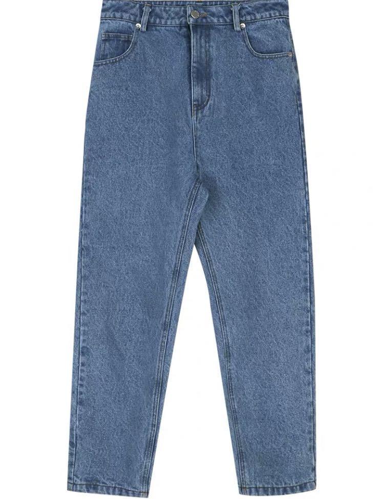 高腰顯瘦遮大腿直筒牛仔褲