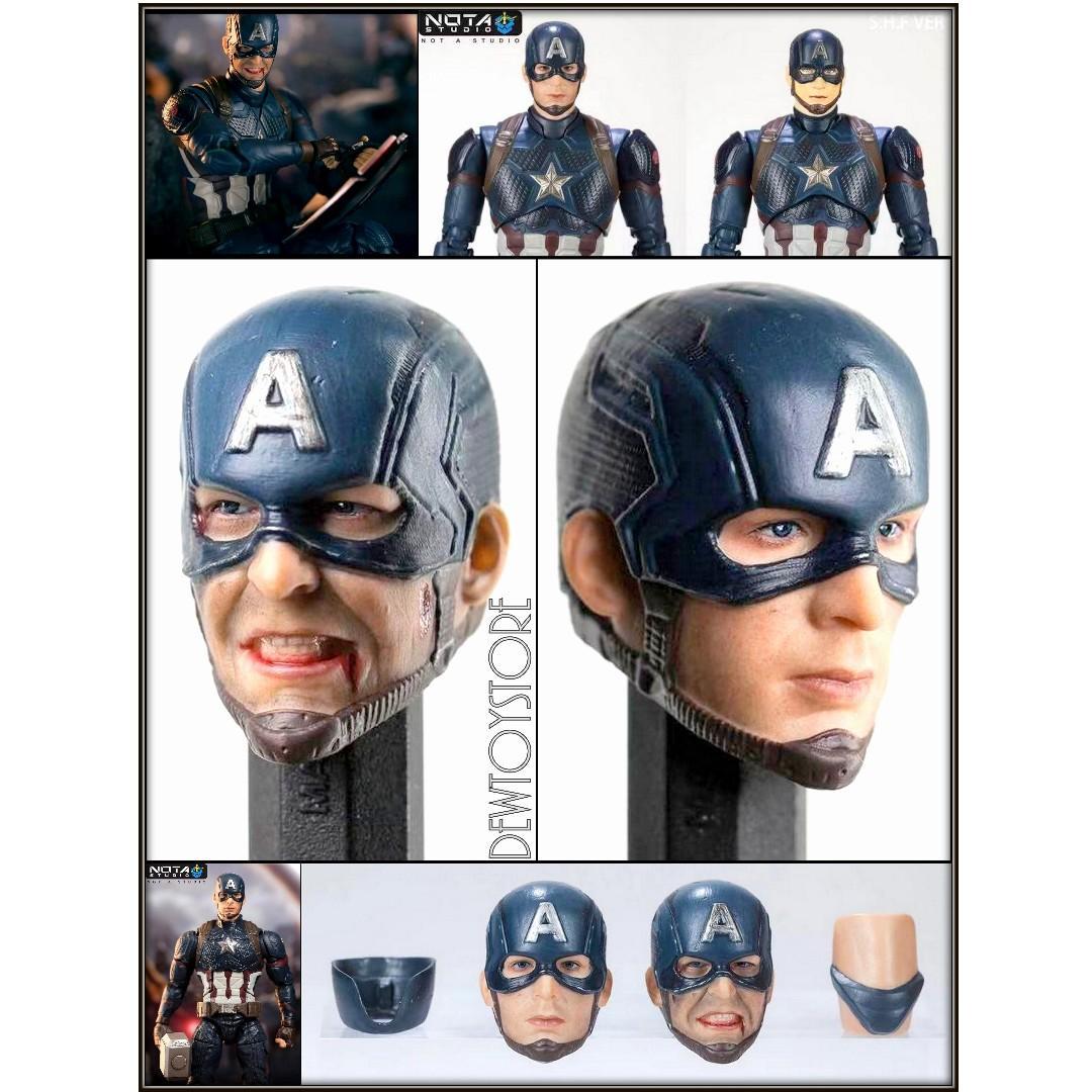 ⭐️ [Pre-order] Nota Studio 1/12 Scale S.H. SH Figuarts SHF - Marvel Avengers : Endgame - Captain America / Steve Rogers / Chris Evans Battle Scene Head Sculpt (Set of 2) ⭐️