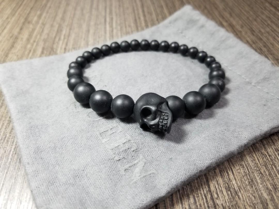 ALEXANDER McQUEEN accessories men J682V 1000 bracelet SKULL MULTIBEADED scull multi-B dead BLACK black