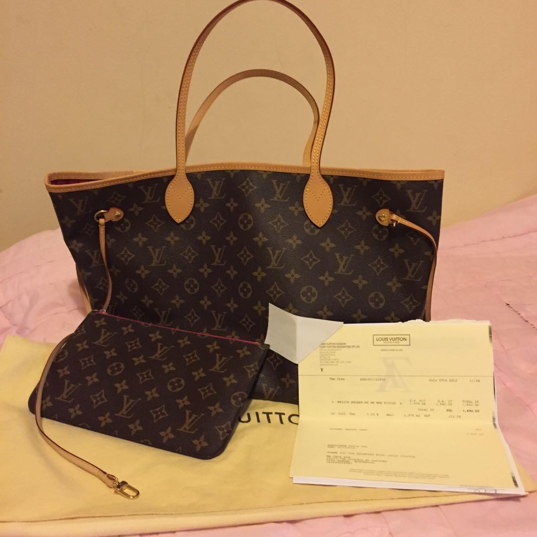Authentic LV Neverfull MM Bag in Monogram, Pivoine Interior