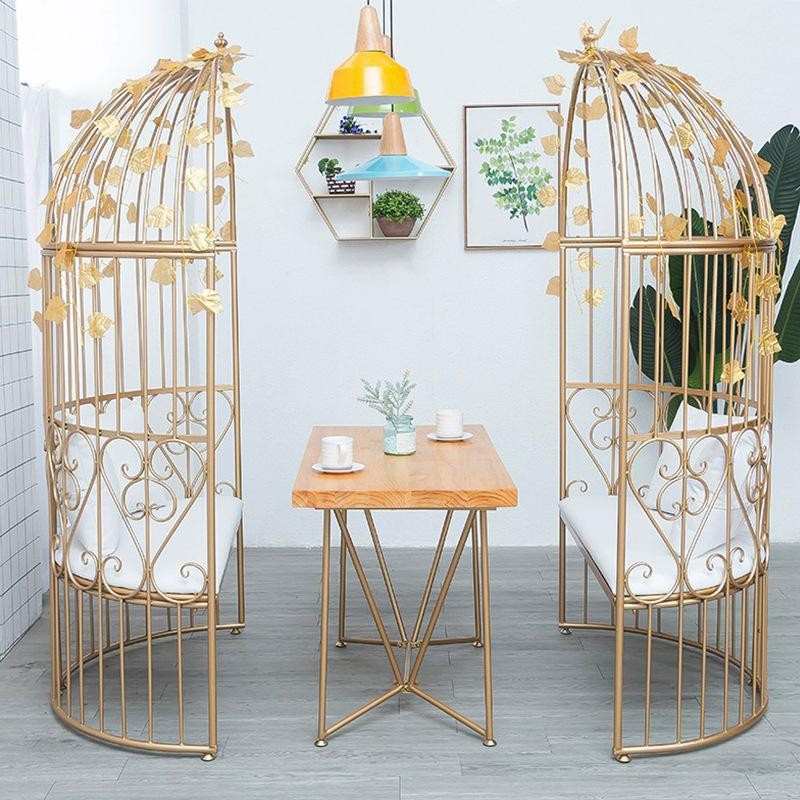 Birdcage design table and bench