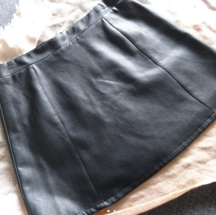 Black Leather Look Aline Skirt by brand Jorge (size 12, new)