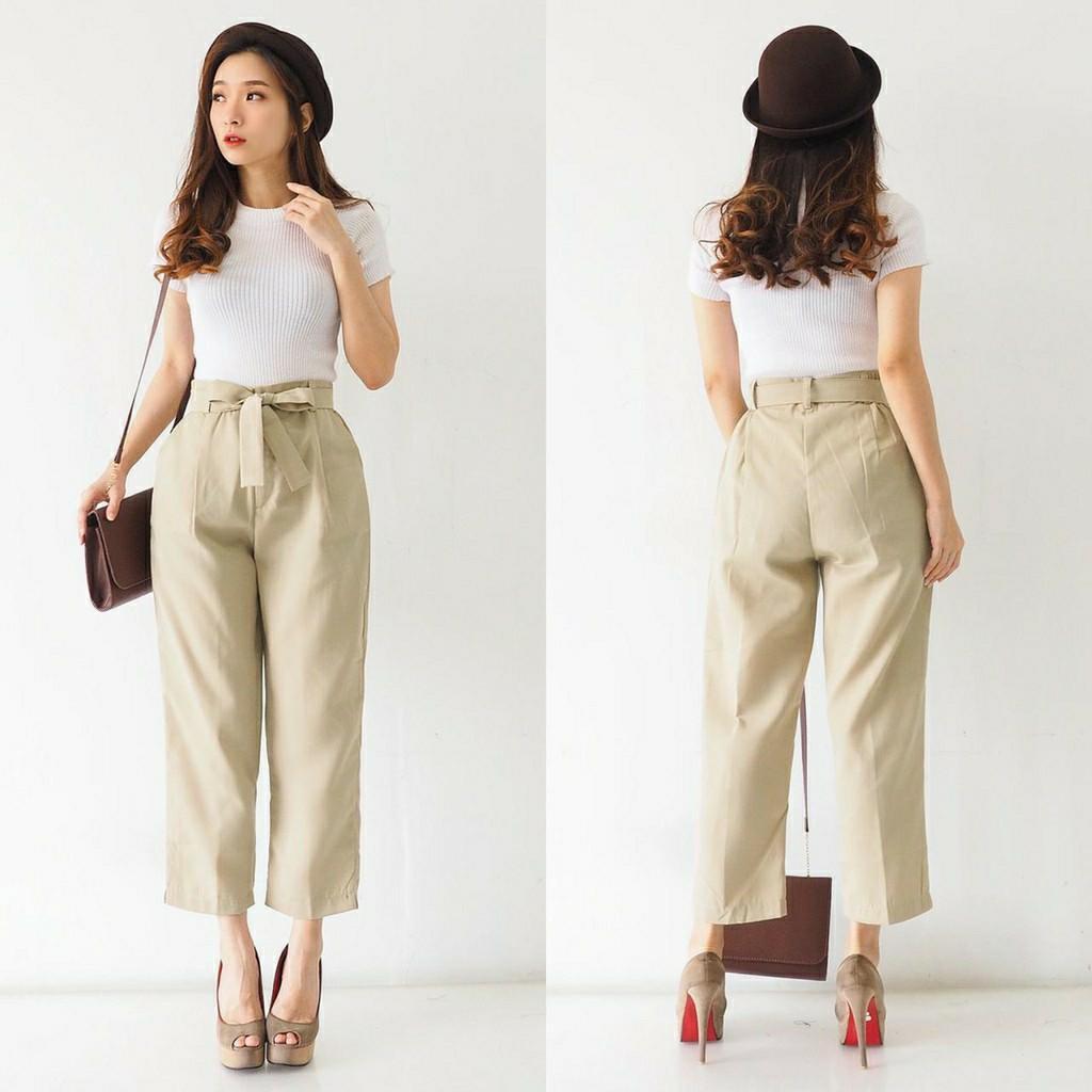 Celana wanita Ribbon Belted Casual HW Pants C7409 celana bahan highwaist celana polos celana casual celana kerja celana karet