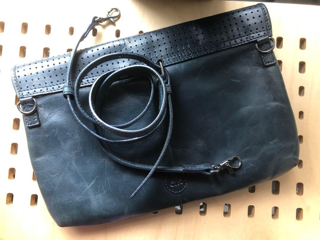 Elk navy perforated leather flap shoulder bag and clutch