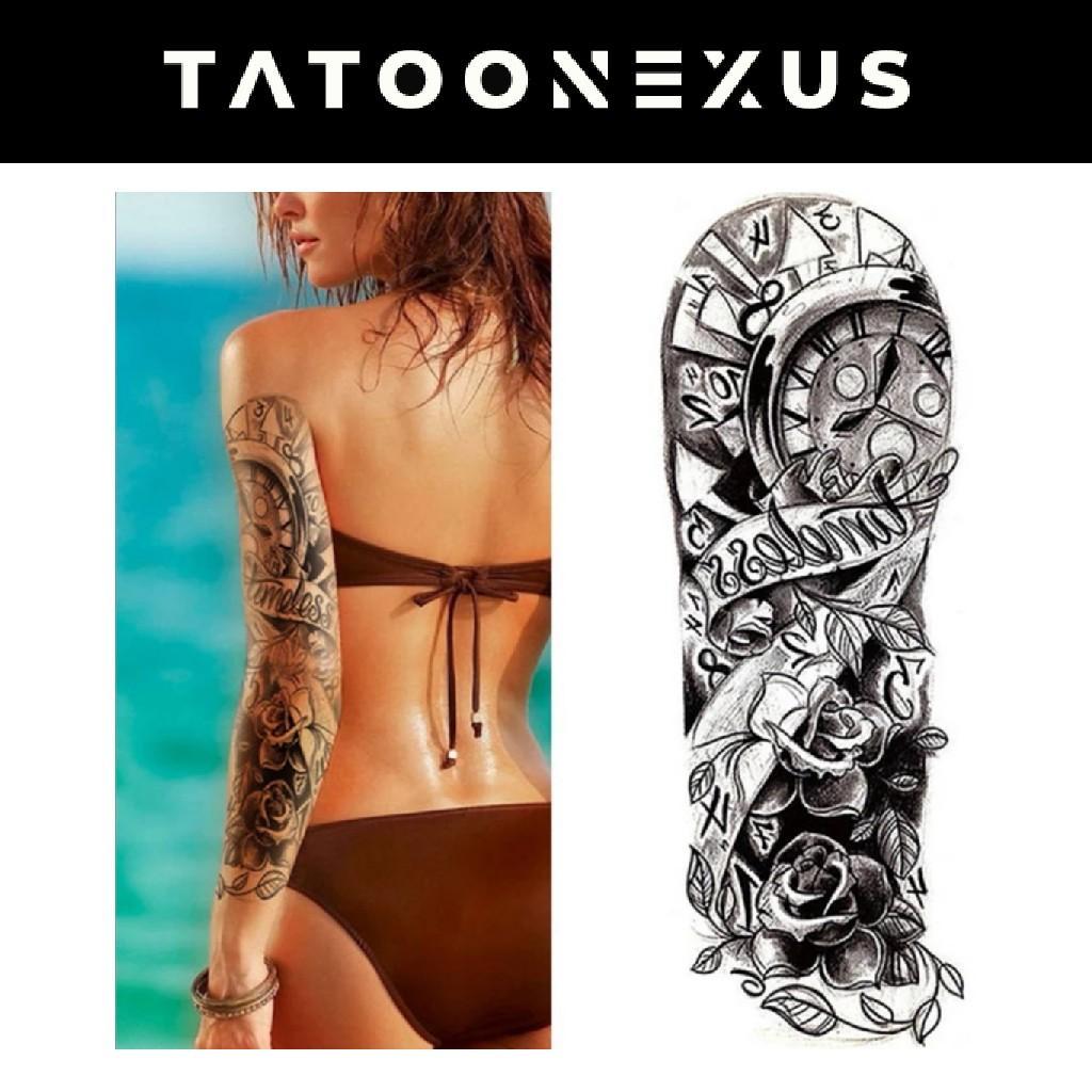 Full Flower Arm Temporary Tattoo Sticker Rose Clock Body Art Water Transfer Fake Tatoo Sleeve For Men Women Design Craft Art Prints On Carousell