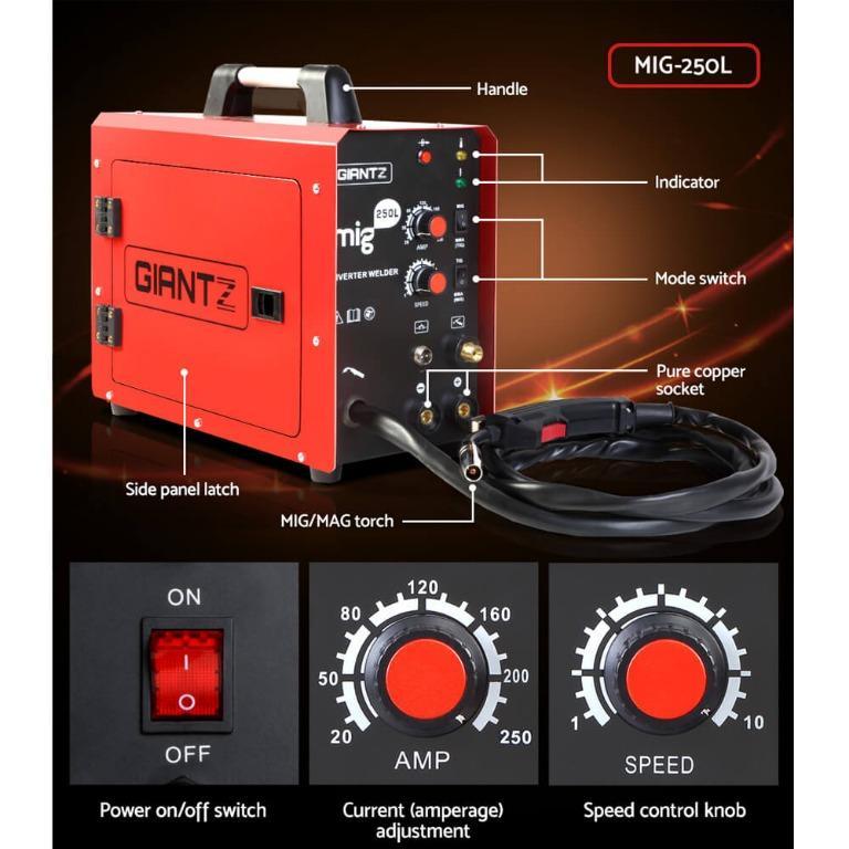 GIANTZ MIG Welding Machine DC Inverter Welder MAG MMA ARC Gas Gasless IGBT 250Amp