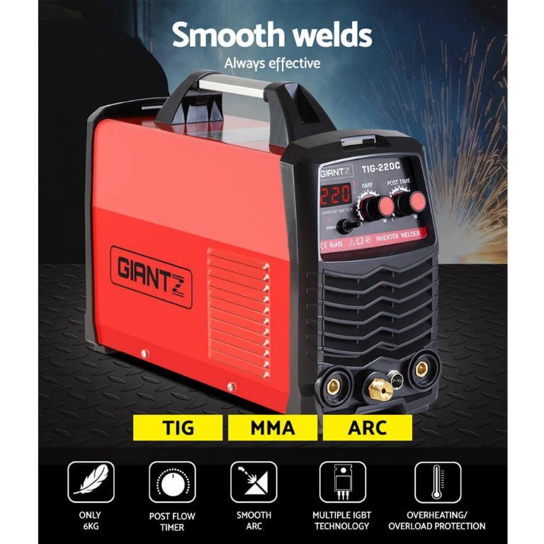 GIANTZ TIG Inverter Welder Portable MMA ARC Stick DC Gas Welding Machine 220Amp