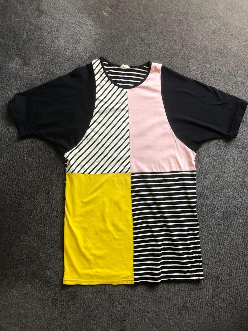 Gorman size small cotton jersey pink yellow navy stripe block dress
