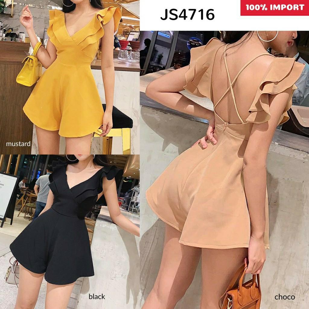 Jumpsuit Wanita Cross Sexy Back Romper JS4716 jumpsuit sexy jumpsuit casual jumpsuit celana jumpsuit polos jumpsuit casual