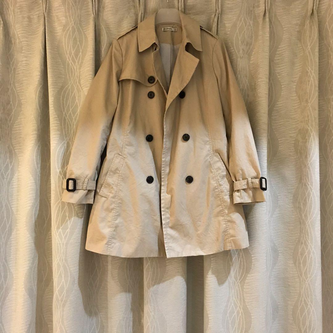 Khaki Trench Coat Outerwear with Belt Autumn Winter