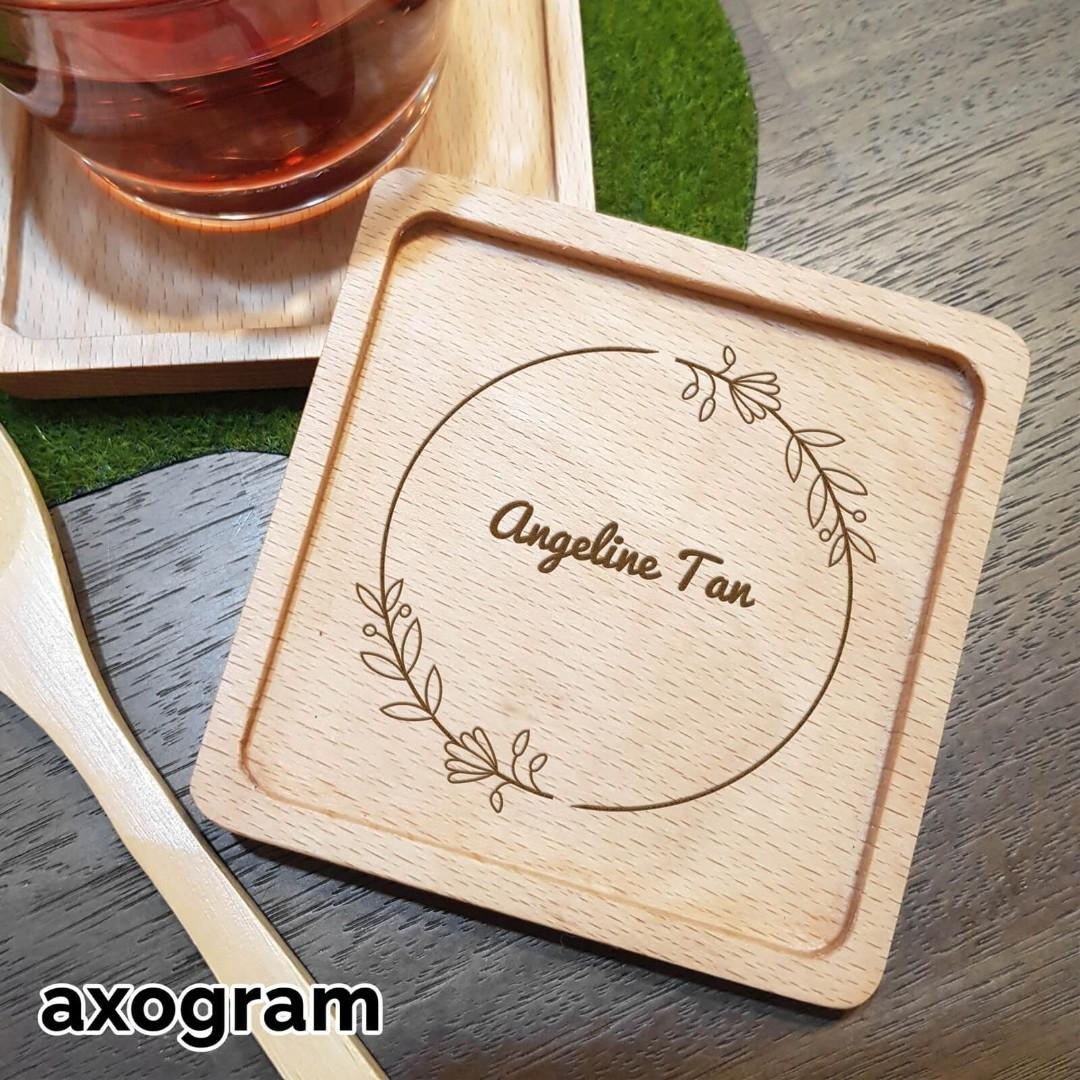 Personalized NAME Floral Border Square Coaster (1 line)