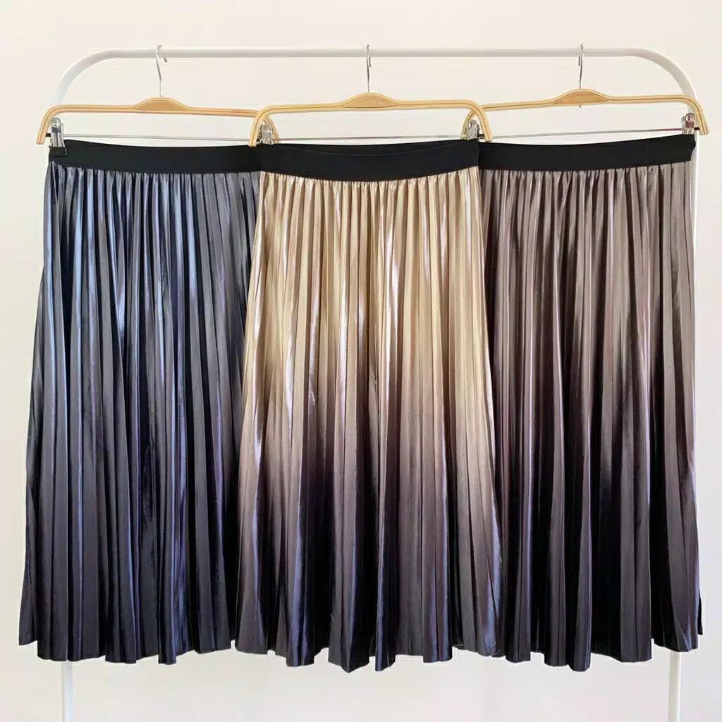 Pleated Skirt New Ombre Velvet Pleated Skirt R5147 midi skirt rok ombre rok plisket casual skirt ombre skirt midi skirt