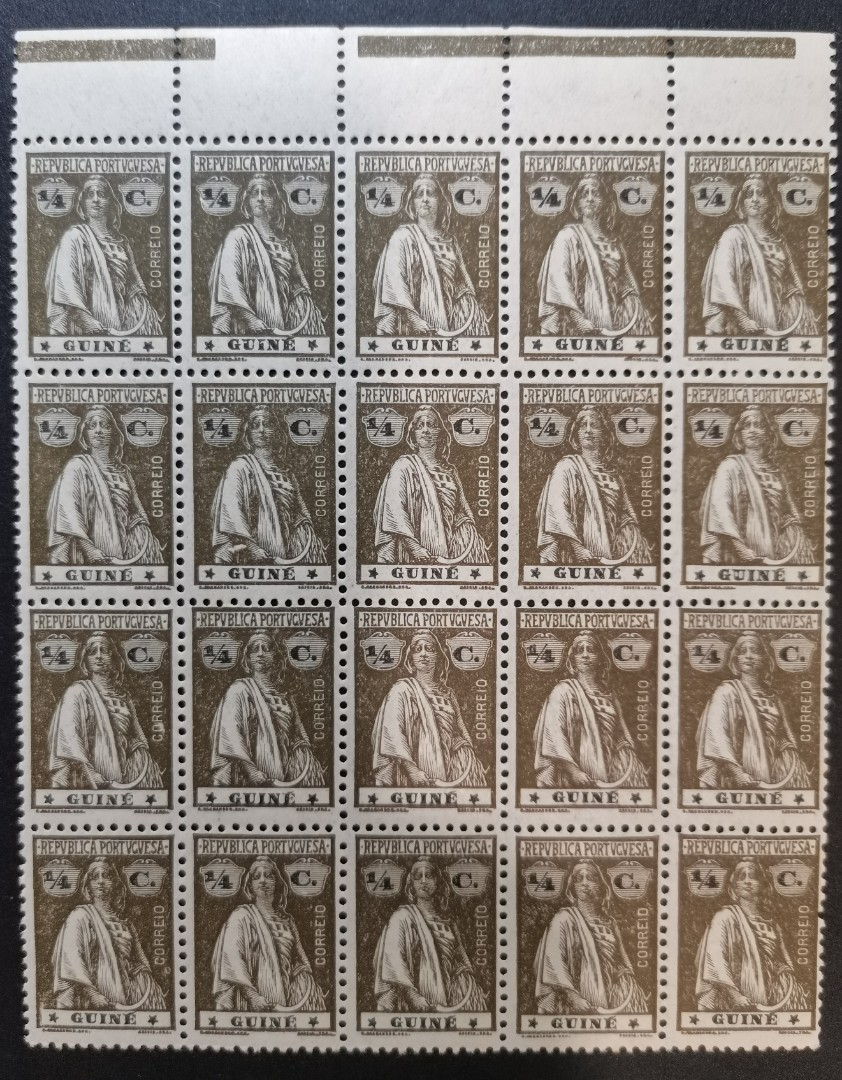 PORTUGUESE GUINEA 1921  1/4 Ceres Olive Brown MNH Block of 20