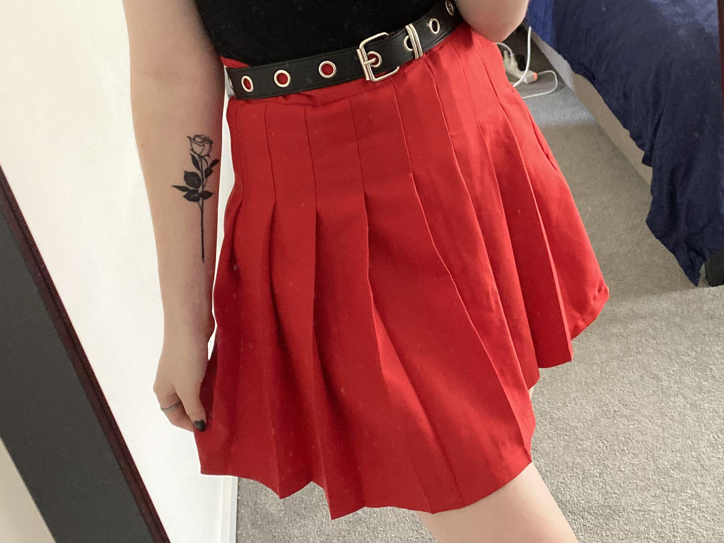 Red tennis skirt