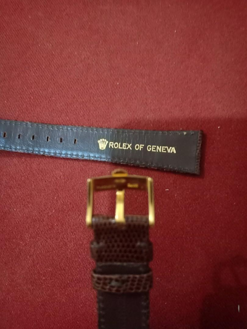 Rolex elegant Genuine Lizard 20MM Brown  Leather Strap with Rolex Gold buckle 100% authentic